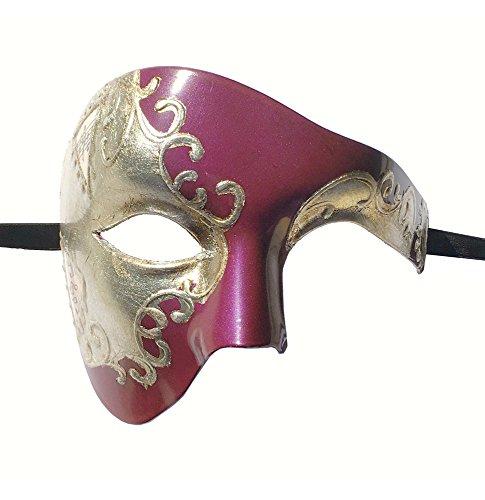 e Maske für Maskenball/Kostüm-Party, für Herren, halbes Gesicht, violett / silberfarben, Einheitsgröße (Venezianische Halb Maske)