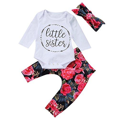 SCFEL Neugeboren Baby Mädchen Lange Ärmel Brief Drucken Spielanzug Tops + Floral Hosen + Stirnband 3 Stück Kleidungs-Satz (0-6 Monate) (Größe Weiße 16 Blumen-mädchen-kleider)