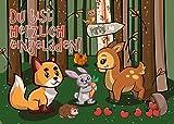 """12-er Kartenset - Kindergeburtstag Einladungskarten niedliche, lustige Waldtiere"""" - Eule, Eichhörnchen, Hase, Igel, Fuchs und Bambi Laden EIN zur Geburtstags-Party"""