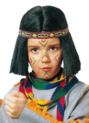 Karneval Kinder Perücke Indianer Zubehör zum Krieger Kostüm Fasching (Indianer Krieger Kostüme Für Erwachsene)