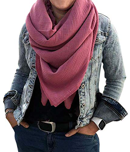 Turnanzug-GymStern XXL Musselin Schal Damenhalstuch aus 100% feiner Baumwolle Tuch Farbwahl Farbe Altrosa