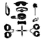 MuP Sklaven Bondage Set Sex Spielzeug 10 Stücke Inkl. Halsbänder Hand- und Fußschellen Seil Knebel für Damen und Herren Liebesspiel unter Paaren Adult Sex Tools in Schwarz