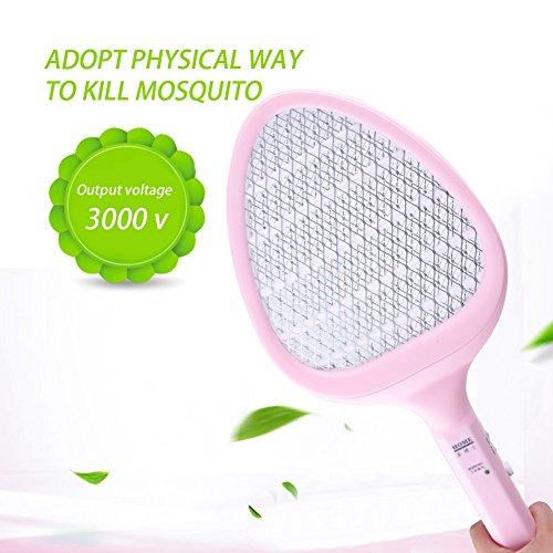 Elektrische Fliegenklatsche Insektenvernichter zweischichtige elektrischer Fliegenfänger für Mückenschutz und Insekten,Fochea Effektiver Mückenfalle Insektenfalle für im Haus und draußen (Rosa)