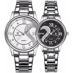 tiannbu fq-102Edelstahl Romantische Paar HIS und HERS Handgelenk Uhren für Männer Frauen WB Set von 2
