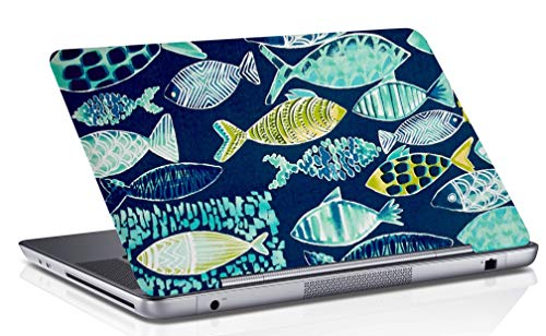 RADANYA Fisch Digital Bedruckt Laptop Haut Abdeckung Blaue Kunst Aufkleber Passt 14,1 Zoll Bis 15,6 Zoll