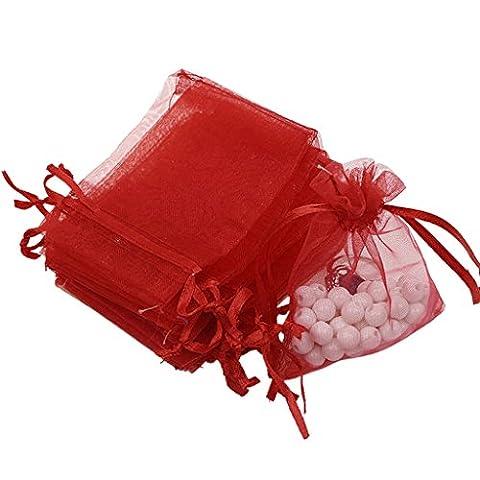 100X Organzabeutel Schmuckbeutel Geschenkbeutel Säckchen Beutel aus Organza - Rot , /