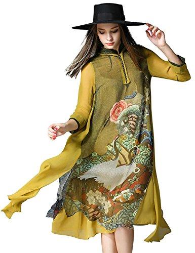 Cheongsam Kleid Muster (G-Like Chinesisches Damen Kleid Kostüm - Traditionelles Cheongsam A-Linie-Kleid Orientalische Muster Farbdruck Hochzeit Party Abend Freizeitkleidung Outfit Stehkragen für Frauen Mädchen (L))