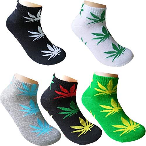 LUCKY BEN 5 Paar Unisex Marihuana Weed Leaf Printed Kurze warme Baumwollsocken für Frauen und Männer (2nd Match)