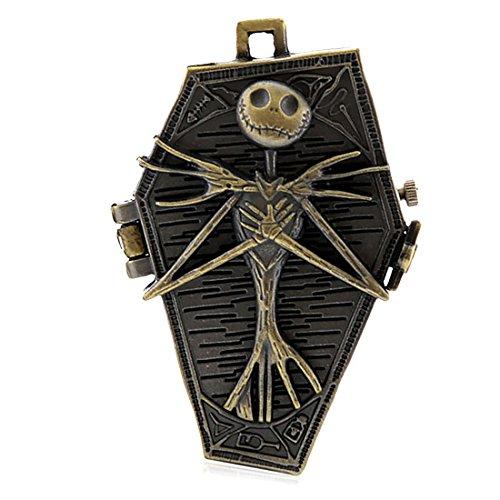 Taschenuhr-Halskette, Legierung, Totenkopf, Farbe: Antik-Bronze; Twist-Kette für Halloween
