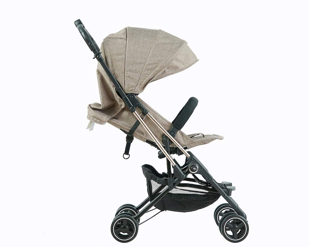 Roma Capsule² Compact Airplane Travel Buggy from Newborn Only 5.6 kgs + Rain Cover, Insect Net and Travel Bag - Tweed with a Rose Gold Chassis Roma Compact lie-back stroller - suitable from newborn to 15 kgs Includes rain cover, insect net, travel bag Locked and swivel wheels, shopping basket, 3