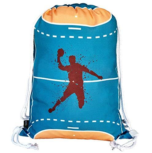 HECKBO® Jungen Mädchen Kinder Handball Turnbeutel - waschmaschinenfest - 40x32cm - geeignet für Kindergarten, Schule, Krippe, Reise, Sport - Rucksack, Tasche, Spieltasche, Sportbeutel, Handballtasche