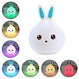 Kinder Nachtlicht Lampe Silikon Berührungssensor LED Lampen Hase Kaninchen Ostern Geschenk für Kinder (7-Color)