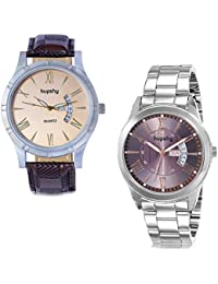 Hupshy® Analog Round Dial Men's Watch/Trendy Men's Watches/Watches For Men (Pack Of 2) Combo - CMB1451