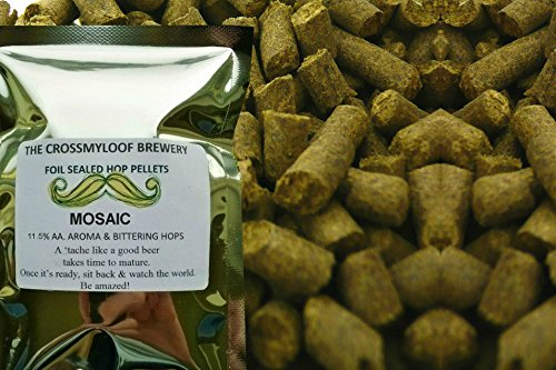 25g Hop Tea Bags. Mosaic Hop Pellets. 11.5 % AA - 2017. CO2 Flushed for Freshness and Cold Stored