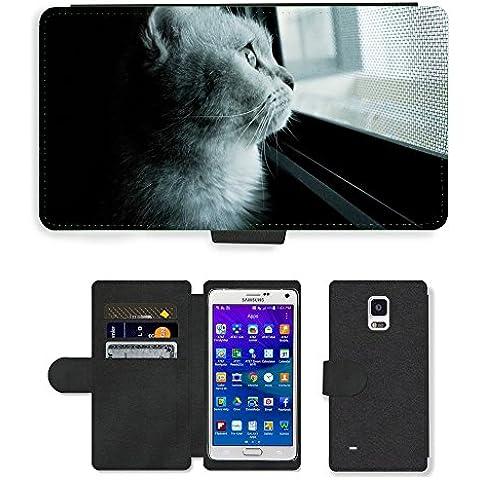 PU LEATHER case coque housse smartphone Flip bag Cover protection // M00114766 Gato Gato Mia Gel Opiniones mascotas // Samsung Galaxy Note 4