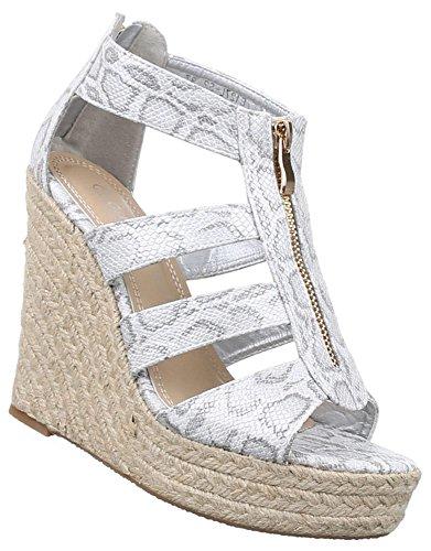 Damen Sandaletten Schuhe Keilabsatz Wedges Plateau Pumps Schwarz Beige Rot Weiss 36 37 38 39 40 41 Weiß Grau