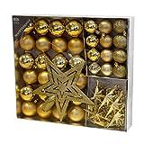 Multistore 2002 45tlg. Christbaumkugeln Set Ø4/5cm Gold - Weihnachtskugeln, Baumkette, Sterne, Baumspitze - Christbaumschmuck Baumschmuck Dekokugeln
