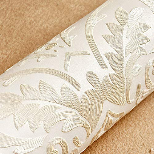 Non-woven 3D stereo European Damascus living room TV background wallpaper Cremeweiß 53x1000cm