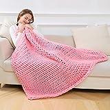 Huhu833 Hand Chunky gestrickte Decke dickes Garn Merino Wolle sperrige Stricken werfen 80x100cm (Rosa, 120 x 150 cm)