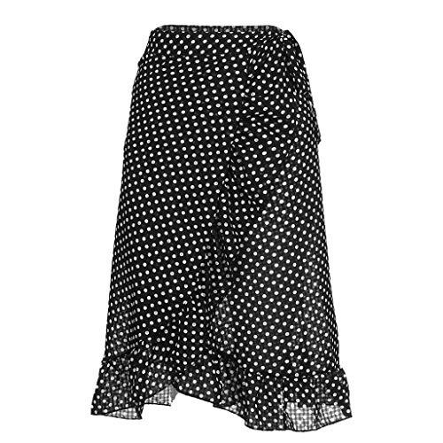 Doingshop Damen Rock Schwarz Und Weiß Polka Dot Irregular Und Knielanger Rock KostüM 50Er Jahre Stil Mode KostüM Damen Outfit -