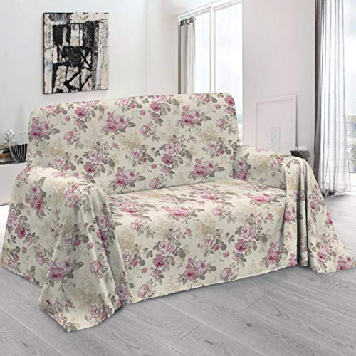 Homelife - telo arredo copridivano con elegante motivo floreale a rose, qualità made in italy - lenzuolo copritutto multiuso in cotone - granfoulard copriletto a una piazza [160 x280 - rosa]
