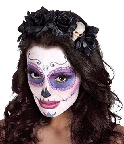 Tag Der Toten Kinder Kostüme Für (Karneval Klamotten Tag der Toten Haarreif Stirnband Haarschmuck Kopfschmuck Day of the Death Haarreif schwarz mit Skelett Halloween)
