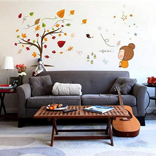 Yzybz Cartoon Wandaufkleber Gefallen Blätter Schöne Mädchen Wandtattoo Home Gedicht Kunst Wohnkultur Für Kinderzimmer
