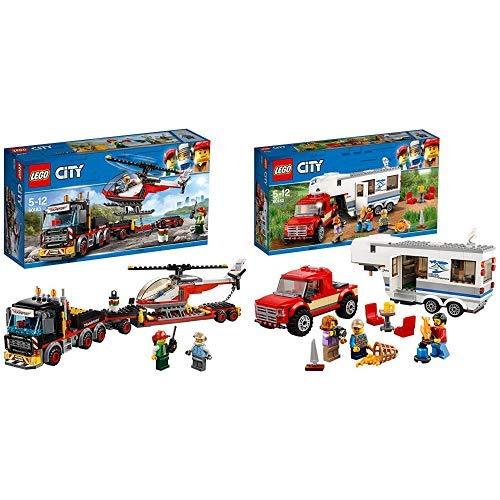 LEGO City 60183 - Starke Fahrzeuge Schwerlasttransporter, Beliebtes Kinderspielzeug &  City 60182 - Starke Fahrzeuge Pickup und Wohnwagen, Spielzeug für Jungen und Mädchen