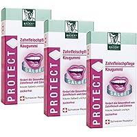 BADERs PROTECT Zahnfleischpflege Kaugummi aus der Apotheke. Mit Kräutern, Salbeiöl und Xylit. Vorteilspack 3 x 16 Stück. Pharmazentralnummer M04928615. Swiss Product.
