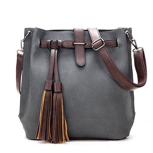 fanhappygo classic Retro Leder Damen Schulterbeutel Umhängetaschen Abendtaschen Messenger Bag grau