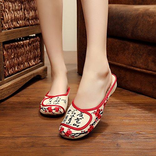 Bege Bordados Flip flop Sapatos Y Estilo Longa De Moda Convenientemente Do M Sexo Feminino Étnico Sandálias Único amp; CTCcwqxtg