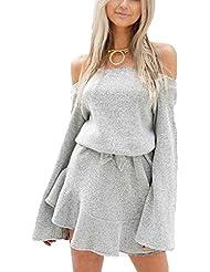 Babysbreath Femmes Mini-robe Off-shoulder Loose Flare à manches longues Lace Up Solid Grey Couleur Automne