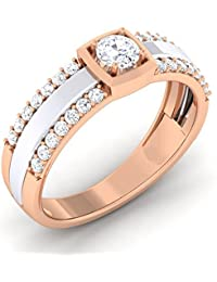 Myzevar Cubic Zirconia 18K Rose Gold Plated Sterling Silver Couple Band For Women - B0765Y6B9B