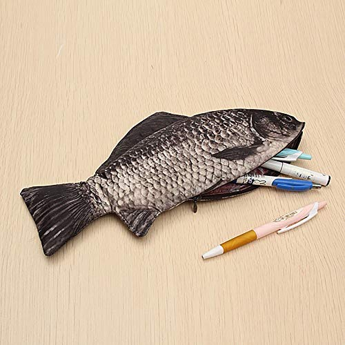 Pencil case gaddrt Carp Pen Bag Realistische Fisch-Form-Make-up Pouch Pen Federmäppchen mit Reißverschluss