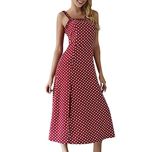 OIKAY® Sommerkleid Damen Boho Midikleid Sexy Frauen Bandeau Boho Dot Print Kleid Damen Sommer Bandage Sommerkleid Kleid