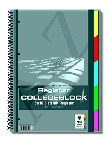 Register Collegeblock DIN A4 Kollegblock kariert