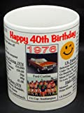 40TH BIRTHDAY MUG -1976- KEEPSAKE. PERSONALIZED WITH YOUR NAME