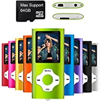 Mymahdi,lettore MP3/MP4 digitale, compatto e portatile (supporta schede micro SD fino a 64GB) con visualizzatore di foto, lettore e-book, registratore vocale, radio FM e lettore video