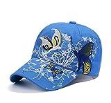 Qchomee Sombrero de béisbol con diseño de Mariposa y Mariposa para Mujer, Ideal para Viajes, Deportes, Playa, protección Solar, Fiesta, etc, Azul, Children Recommend Age 3-8Years