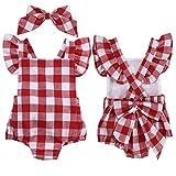 UOMOGO Pagliaccetto Lettera Bowknot Abiti Body Pagliaccetto Tuta Set Di Vestiti set Outfit (Età: 6-12 mesi, Rosso)