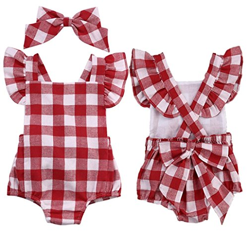 Uomogo® pagliaccetto lettera bowknot abiti body pagliaccetto tuta set di vestiti set outfit (età: 3-6 mesi, rosso)