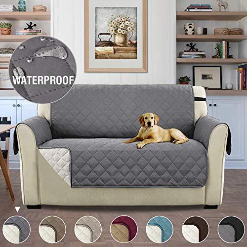 H.versailtex copridivano 2 posti impermeabile divano protector mobili coperture su due lati per cani/gatti letto con divano slipcovers 190 x 116cm, grigio