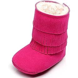 GenialES Stivali di neve calde con 3livelli di nappe pavimenti morbide per bebé bambino 0a 18mesi 13cm,12-18meses Fucsia