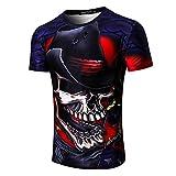 Schädel Themen T-Shirt Herren 3D Druck Shirt Kurzarm Bluse Tops Tees GreatestPAK,Rot,M