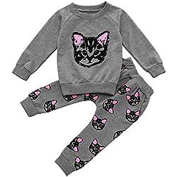 MIOIM® 2pcs Tops Camisetas + Pantalones Largo Gatito De Impreso Lindo Conjuntos Trajes de Bebé Niñas Niñas Ropa Pijama ( 2-6 años)