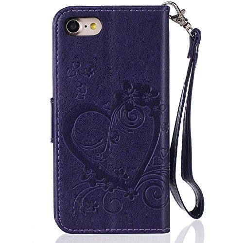 PU Flip Case Wallet Cover mit Strap Tasche Silikon Schutzhülle Handyhülle Painted pc case cover hülle Handy-Fall-Haut Shell Abdeckungen für Smartphone Apple iPhone 7 (4.7 Zoll) +Staubstecker (3SQ) 10