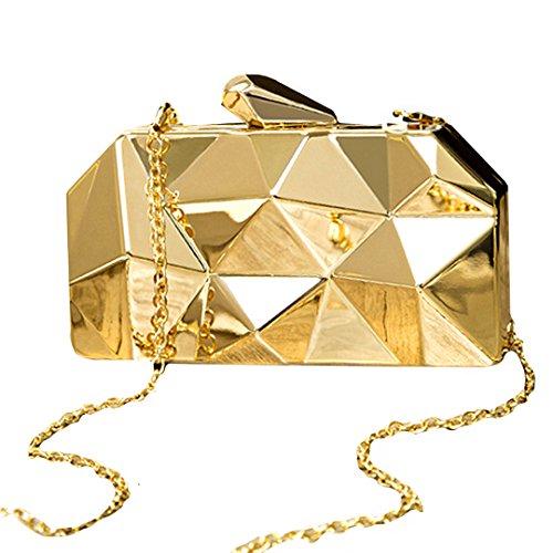 2a8c75fb18e7f LAHAUTE Mode Damen Partys Clutches Abendtasche Umhängetasche Metallelement  mit abnehmbare Metall Kette Schnappverschluss Silber Gold