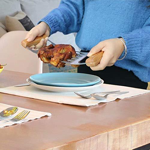 51644oLyYbL - Fleisch Krallen für Pulled Pork Meat Claws BBQ Gabeln Bärenkrallen Edelstahl mit Holzgriff [2 Stück] Langlebig & Scharfe, Geschwungene Gabeln zum Greifen, Zerkleinern & Reißen von Fleisch & Hühnchen