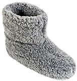 Herren Damen Hausschuhe Reine Wollhausschuhe - Hüttenschuhe Stiefel Warm Winter Wolle Warme Winterhausschuhe Schafswolle Mit Fell Schafwolle (39, Graphit)