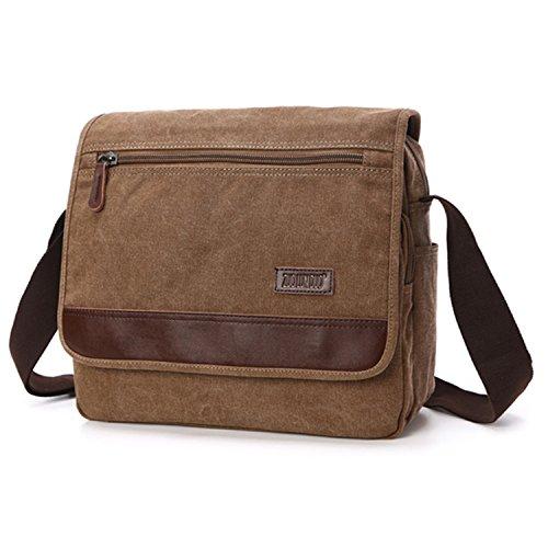 Outreo Umhängetasche Herren Aktentasche Vintage Taschen Kuriertasche Herrentaschen Retro Schultertasche Messenger Bag für Laptop Tablet Sporttaschen Reisetasche Braun One